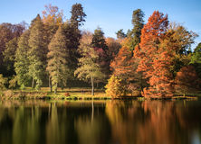 Beautiful landscape of Autumn trees and colors reflected in lake Stock Photos