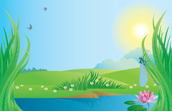 Beautiful landscape background. Vector illustration contains the image of summer landscape Royalty Free Stock Photos