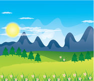 Beautiful landscape background Vector. Green Landscape with trees clouds flowers and mountains Stock Images