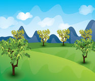 Beautiful landscape background Vector. Green Landscape with trees clouds flowers and mountains Royalty Free Stock Photos