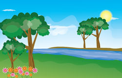 Beautiful landscape background Vector. Green Landscape with trees clouds flowers and mountains Royalty Free Stock Images