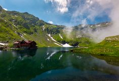 Beautiful landscape of Balea Lake. Popular destination for tourists in Fagaras mountains, Romania Stock Photography