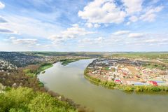 A beautiful landscape from the banks of the Dniester river in the vicinity of the village of Vasiliev royalty free stock photography