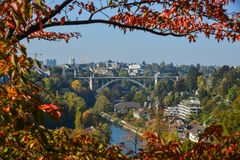 Beautiful landscape of Bern with old bridge stock images