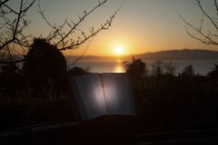 Beautiful landscape with bible open at sunrise in front of the sea. Fuji City, Japan. Horizontal shot. With space for text.  stock images