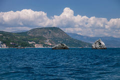 Beautiful landscape of the Black Sea and mountains in Crimea Royalty Free Stock Image