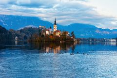 Beautiful landscape of Bled Lake with Church and Castle Slovenia stock photos