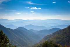 Beautiful landscape of blue mountains Royalty Free Stock Images