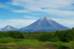 Beautiful landscape of blue sky, mountain peacks and green bushe Stock Image