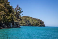 Beautiful landscape with blue turquoise ocean and clear sky, Abel Tasman Stock Photo