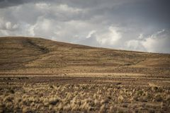 The beautiful landscape of Bolivia along the road to La Paz, Bolivia stock image
