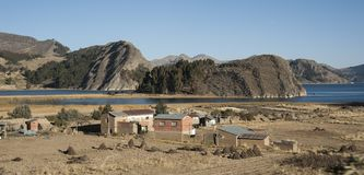 The beautiful landscape of Bolivia along the road to San Pedro de Tiquina stock photography