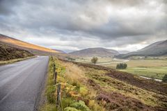 Road through beautiful landscape of cairngorms national park in Stock Images