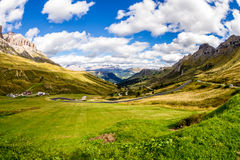 Beautiful Landscape in Campolongo Pass, Italian Alps Royalty Free Stock Image