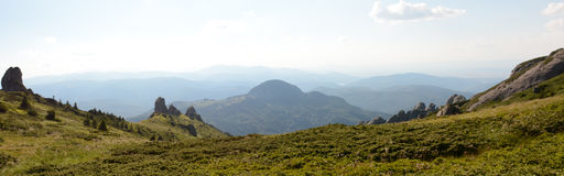 Beautiful landscape of Carpathian mountains in Romania, panorama view. Carpathian mountains in Romania, panorama view landscape Royalty Free Stock Images