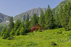 Beautiful landscape in the Carpathians with traditional mountain chalet Stock Photo