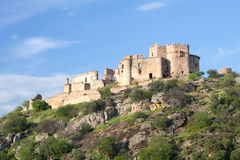 Beautiful landscape with a castle on a hill Stock Images