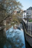 Beautiful landscape of channel with trees reflection in little venice in Colmar Royalty Free Stock Photo