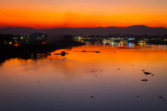 Beautiful landscape of  chao phraya river in the evening Royalty Free Stock Image