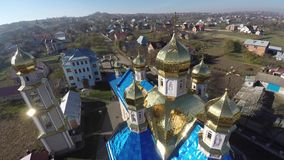Beautiful landscape church in the countryside. drone video. stock video footage