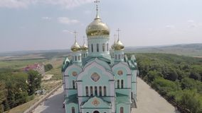 Beautiful landscape church in the countryside. drone video. stock footage