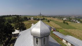Beautiful landscape church in the countryside. drone video. stock video