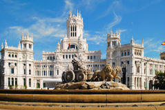 Beautiful landscape with Cibeles Fountain in downtown Madrid, Sp Royalty Free Stock Photography