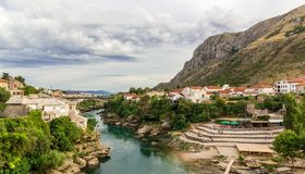 Beautiful landscape of the city of Mostar and minaret in the background Stock Image
