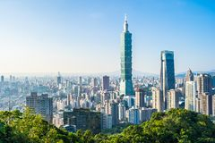 Beautiful landscape and cityscape of taipei 101 building and architecture in the city stock photos
