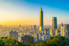 Beautiful landscape and cityscape of taipei 101 building and architecture in the city royalty free stock photo