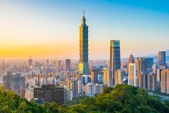 Beautiful landscape and cityscape of taipei 101 building and architecture in the city stock photography