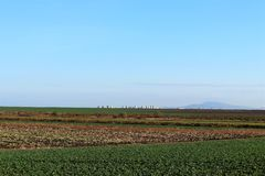 Beautiful landscape, clear blue sky, green and brown plowed field in Bulgaria. On the background is city Burgas royalty free stock photos