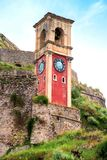 Beautiful landscape with a clock and bell tower in the old fortress in Kerkira, Corfu, Greece. popular tourist attractions. royalty free stock images