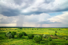 Beautiful landscape with cloudy rainy sky Royalty Free Stock Images