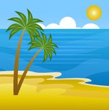Beautiful landscape on the coast of sea with palms Royalty Free Stock Images