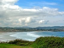 Beautiful landscape with coastline in Asturias, Camino del Norte route, Northern coast of Green Spainof Biscay bay royalty free stock photo