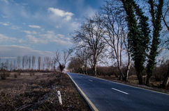 Beautiful landscape of country side road with trees in winter time at sunset. Azerbaijan, Caucasus, Sheki, Gakh, Zagatala Stock Photos