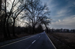 Beautiful landscape of country side road with trees in winter time at sunset. Azerbaijan, Caucasus, Sheki, Gakh, Zagatala Royalty Free Stock Photos