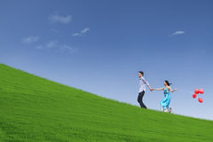 Beautiful landscape and couple on hill Stock Photo