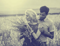 Beautiful landscape and couple in love with flowers on sunset. Black and white. Stock Image