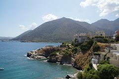 Beautiful landscape of Crete, sea and mountain. Wonders of nature. Royalty Free Stock Photo