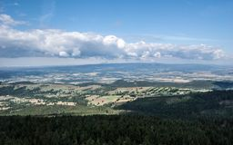 Beautiful landscape of czech-moravian borders with countryside, hills and blue sky with clouds from Klepac hill. Beautiful landscape of moravian - bohemian Stock Photography