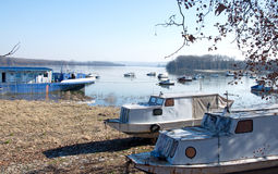 Beautiful landscape of the Danube riverside with anchored boats at Zemun, Serbia Stock Image