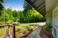 Beautiful landscape design. with walkway. House exterior royalty free stock photo