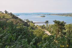 River landscape. Dnepr River. The beautiful landscape of the Dnieper River stock photo