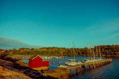 Beautiful landscape of a dock in the Swedish west Royalty Free Stock Photo