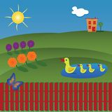 Beautiful landscape with ducks on the lake, flowers, butterfly a vector illustration