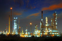 Beautiful landscape dusky sky of heavy industry oil refinery pla Stock Photos