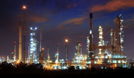 Beautiful landscape dusky sky of heavy industry oil refinery pla Stock Photo