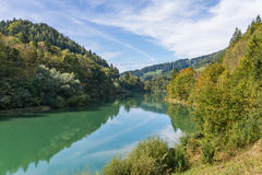 Beautiful landscape with the Enns river in UpperAustria Royalty Free Stock Images